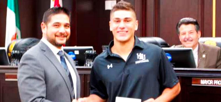 Vela Family donates scholarship to local High School Football standout